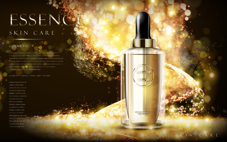 Foto de golden essence skin care contained in bottle, glitter background in 3d illustration - Imagen libre de derechos