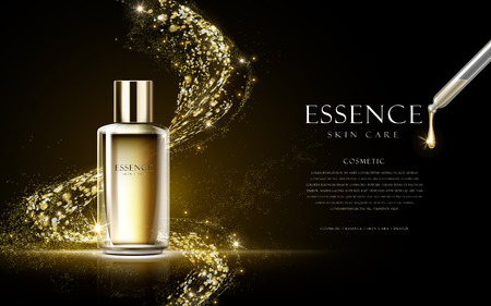 Ilustración de golden essence skin care contained in bottle isolated on black background, 3d illustration - Imagen libre de derechos