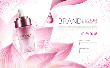 Ilustración de lotus essence concentrate product contained in a pink droplet bottle, with flower element and pink background, 3d illustration - Imagen libre de derechos