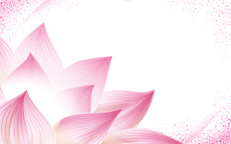 Ilustración de flower background, with a half pink lotus in the corner of the picture, 3d illustration - Imagen libre de derechos