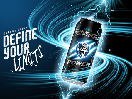 energy drink contained in black can, with current element surrounds, blue background, 3d illustration