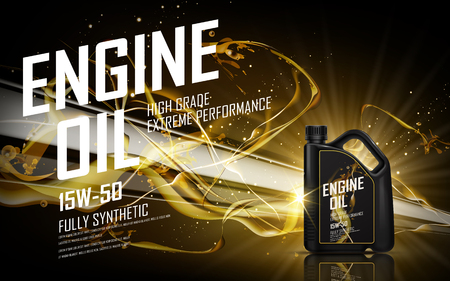 engine oil with golden beam background, 3d illustration