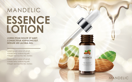 mandelic essence lotion contained in drop bottle, with almond and cream elements, 3d illustration