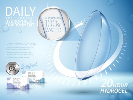Illustration pour soft contact lenses ad, with long term arrow elements, light blue background - image libre de droit