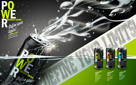 Illustration pour energy drink contained in three kinds of metal cans with refreshing breath elements, gray background - image libre de droit