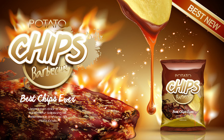 Potato chips ad barbecue flavor, with fire grilling meat elements, 3d illustration