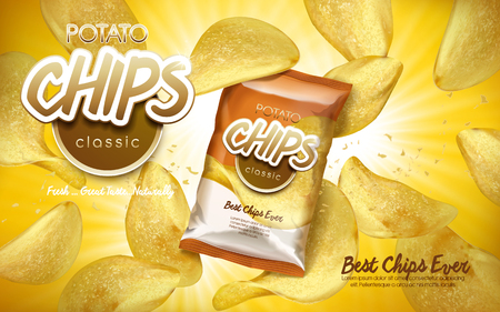 Classic flavor potato chips ad with flying chips and a bag, 3d illustration