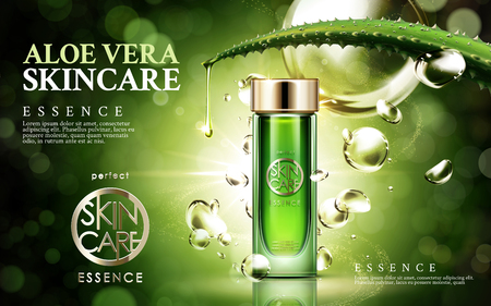 Photo pour aloe vera skincare, contained in glass bottle, isolated green background, 3d illustration - image libre de droit