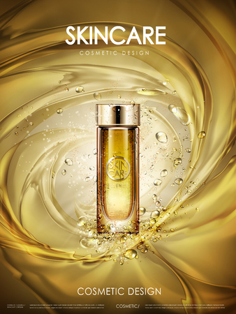 Illustration pour cosmetic golden essence contained in glass bottle, golden background, 3d illustration - image libre de droit