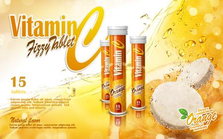 Illustration pour vitamin tablet with golden juice elements, 3d illustration - image libre de droit