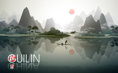 Illustration pour China Guilin travel poster with natural scenery, fisherman with fish trap, and Chinese words of Guilin in the bottom left corner - image libre de droit