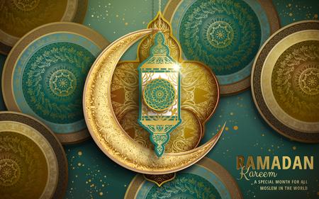 Illustration pour Ramadan Kareem illustration with crescent decoration and green and golden patterns - image libre de droit