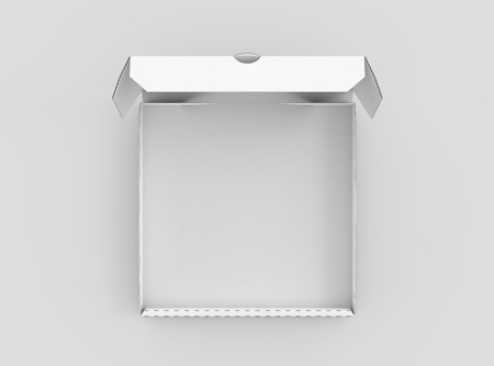Photo for 3d rendering white blank open pizza box, isolated light gray background top view - Royalty Free Image