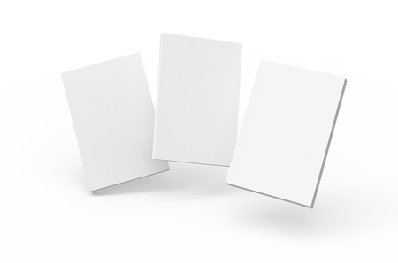 Blank book template, mockup for design uses in 3d rendering, three floating books