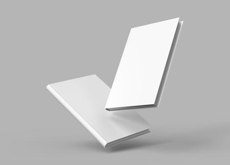Foto de Hardcover books template, blank books mockup floating in the air for design uses, 3d rendering - Imagen libre de derechos