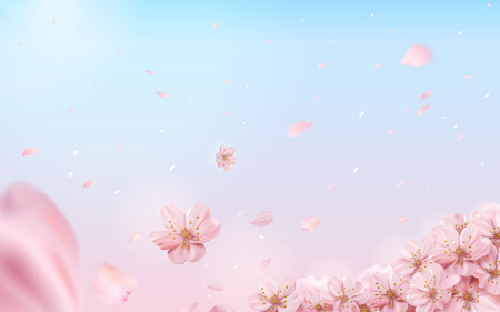 Illustration pour Romantic cherry blossom background, flying flowers isolated on pink and blue background in 3d illustration - image libre de droit