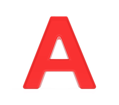 red letter A, 3D rendering graphic isolated on white background
