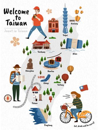 Ilustración de Taiwan Travel map, hand drawn style attractions and specialties with three travelers - Imagen libre de derechos