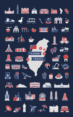 Taiwan travel symbol collection, famous architectures and specialties in flat design isolated on dark blue background, tricolor design