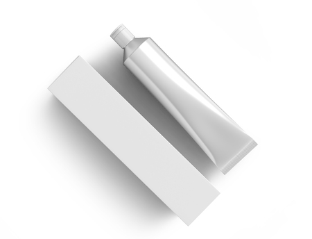 Foto für Blank toothpaste mockup, paste tube with paper box in 3d render in silver - Lizenzfreies Bild