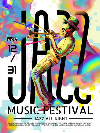 Illustration pour Jazz all night poster, music festival design in WPAP style, pop art portrait for trumpet performance - image libre de droit