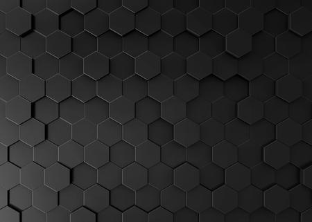 Photo for Black hexagon background, 3d render geometric pattern wallpaper - Royalty Free Image