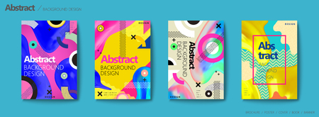 Illustration for Memphis and hipster style brochure, colorful geometric elements and fluid shapes design flyer set - Royalty Free Image
