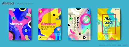 Illustration pour Memphis and hipster style brochure, colorful geometric elements and fluid shapes design flyer set - image libre de droit
