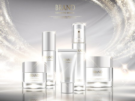 Illustration pour Pearl white skincare ads, cosmetic package design set with glittering light effect in 3d illustration - image libre de droit