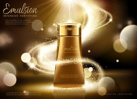 Ilustración de Golden cosmetic tube ads, bronze tube with glittering light and bokeh background in 3d illustration - Imagen libre de derechos
