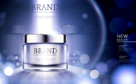 Ilustración de Whitening cream ads, cosmetic product ads with particles and strong light on the container in 3d illustration - Imagen libre de derechos
