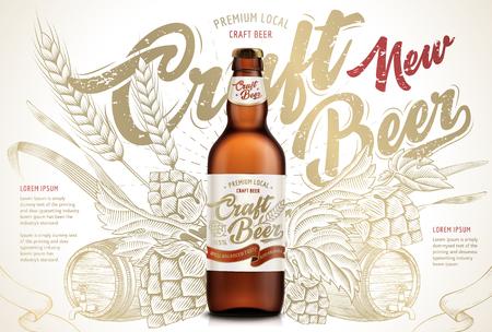 Illustration pour Craft beer ads design template vector illustration - image libre de droit