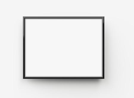 Foto de Black picture frame, 3d render thin frame with empty space for decorative uses - Imagen libre de derechos