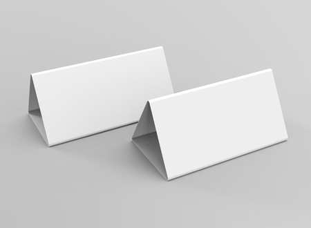 Blank table tent, 3d render table card set mockup for design ...