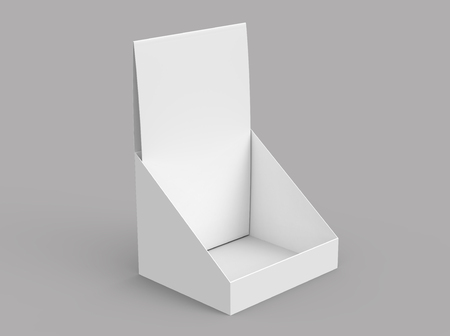 Foto de Paper holder mockup, blank 3d render desktop stand for brochure placement - Imagen libre de derechos
