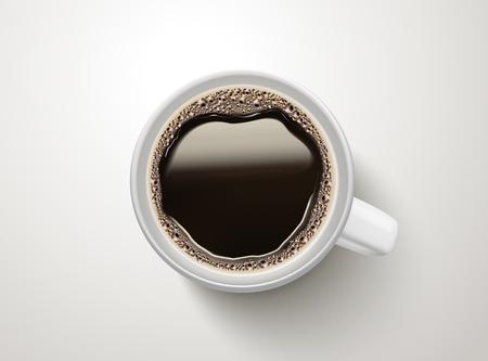 Illustration pour Top view of a cup of black coffee illustration - image libre de droit
