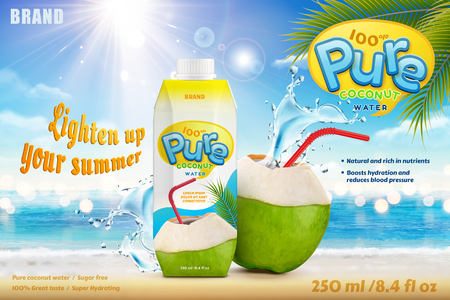 Illustration pour Coconut water with refreshing liquid splashing out from the fruit with red straw - image libre de droit