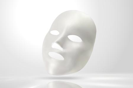 Illustration pour Facial mask mockup in 3d illustration on pearl white background - image libre de droit