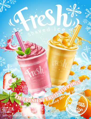 Ilustración de Summer frozen ice shaved poster with strawberry and mango flavors in 3d illustration, refreshing fruit and toppings - Imagen libre de derechos