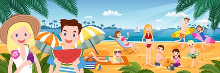 Ilustración de Tropical beach party with people enjoying hot summer time in flat design - Imagen libre de derechos