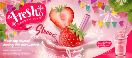 Illustration pour Strawberry ice shaved ads with fresh fruit in 3d illustration, pink party decoration with snowflakes - image libre de droit