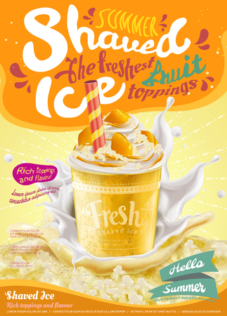 Ilustración de Summer frozen ice shaved poster in mango flavor in 3d illustration, splashing milk and ice element - Imagen libre de derechos