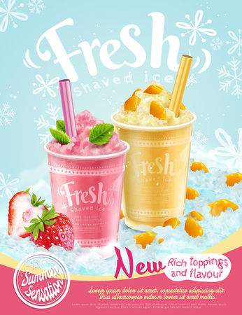 Illustration pour Summer frozen ice shaved poster with strawberry and mango flavors in 3d illustration, refreshing fruit and toppings - image libre de droit