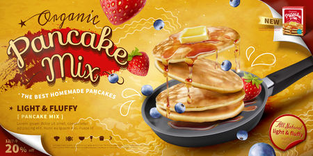Illustration pour Delicious fluffy pancake in frying pan, fresh fruit and honey toppings in 3d illustration, food ad banner or poster - image libre de droit