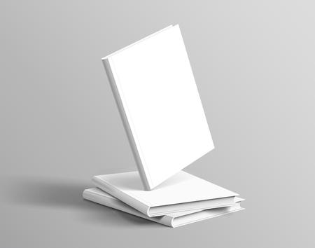 Ilustración de Hardcover books set floating on grey background in 3d illustration - Imagen libre de derechos