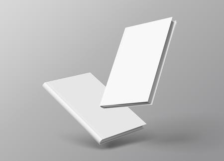 Illustration pour Hardcover books set floating on grey background in 3d illustration - image libre de droit