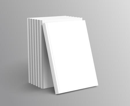 Ilustración de Hardcover books set standing on grey background in 3d illustration - Imagen libre de derechos