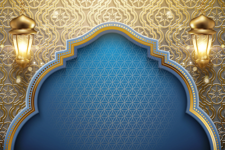 Arabic holiday design with glowing golden lanterns and carved floral pattern background, 3d illustration