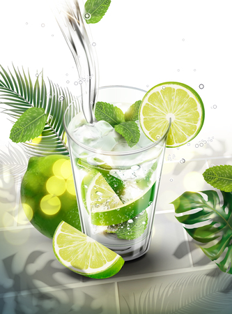Ilustración de Liquid pouring into mojito with lime and mints on tropical leaves background in 3d illustration - Imagen libre de derechos