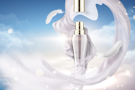 Illustration pour Cosmetic spray ads with flying pearl white satin and feather in 3d illustration, blue sky background - image libre de droit